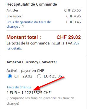 taux de change amazon