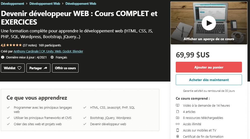 Devenir développeur WEB _ Cours COMPLET et EXERCICES _ Udemy
