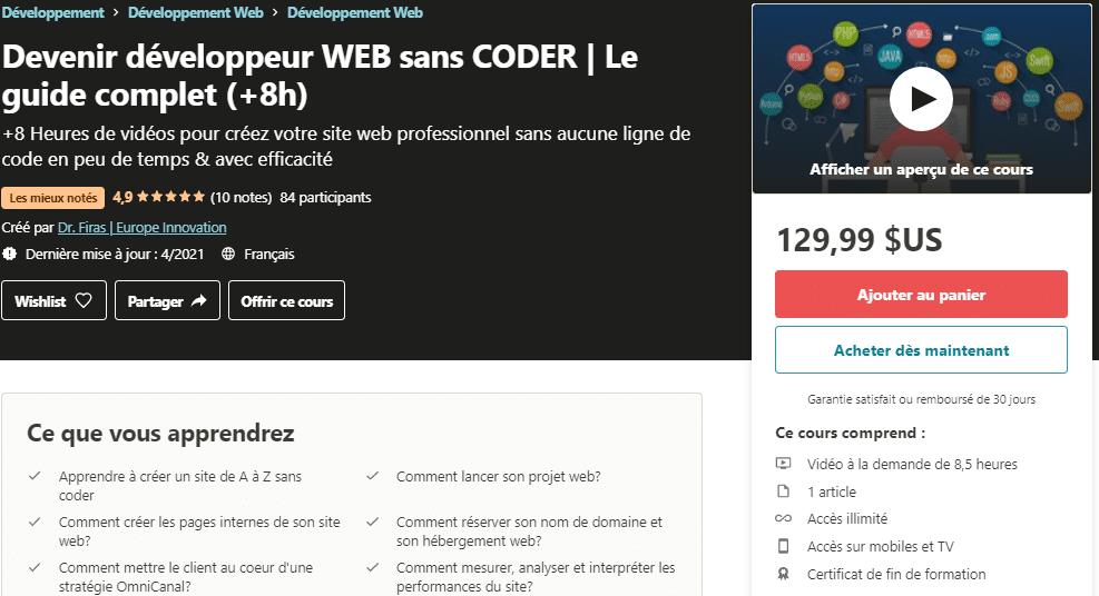 Devenir développeur WEB sans CODER _ Le guide complet (+8h) _ Udemy