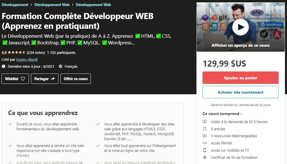 Formation Complète Développeur WEB (Apprenez en pratiquant) _ Udemy