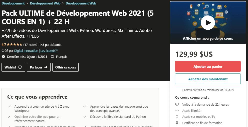 Pack ULTIME de Développement Web 2021 (5 COURS EN 1) + 22 H _ Udemy