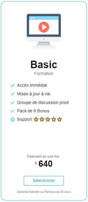 Formation Site de Niche & Affiliation - prix basic